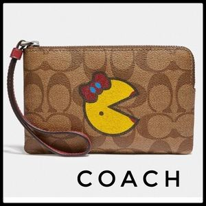 Coach Ms. PAC Man Signature Corner zip wristlet